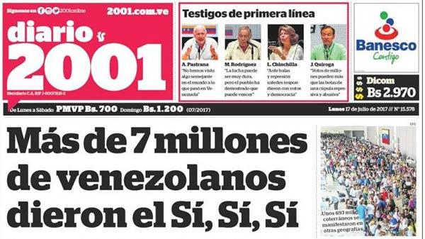 Portada de diario nacional de este lunes #17Jul |Foto: Kiosko.net