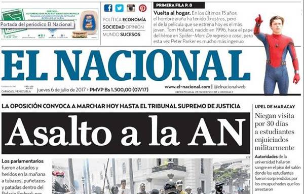 Portada de diario nacional  Foto: Kiosko.net