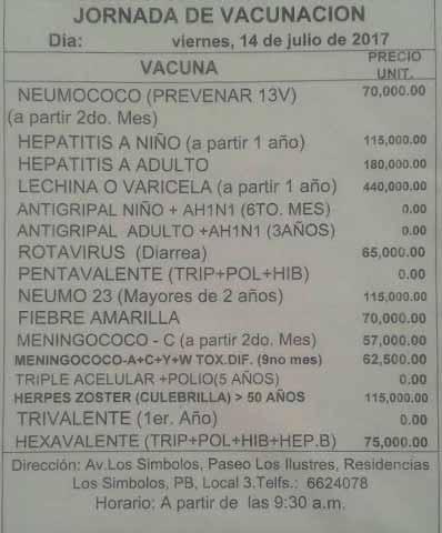 Precios de las vacunas   Foto: La Iguana