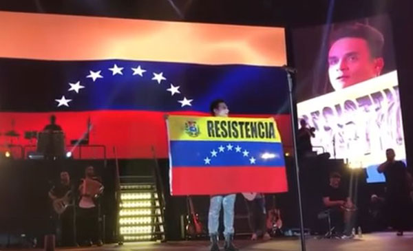 Silvestre Dangond honró a la resistencia opositora durante concierto en Florida | Captura de video