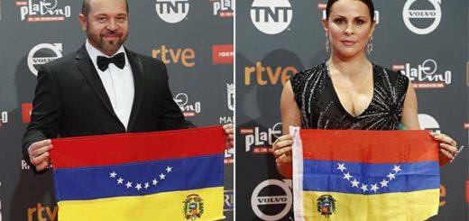 Director Miguel Ferrari y la actriz Malena González en los Premios Platino | EFE
