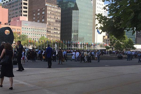 Desalojan sede de la ONU en Nueva York tras activarse alarma de incendio | Foto: @giselduca