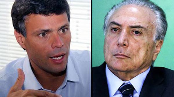 Leopoldo López se dirige a Michel Temer | Fotomontaje Notitotal