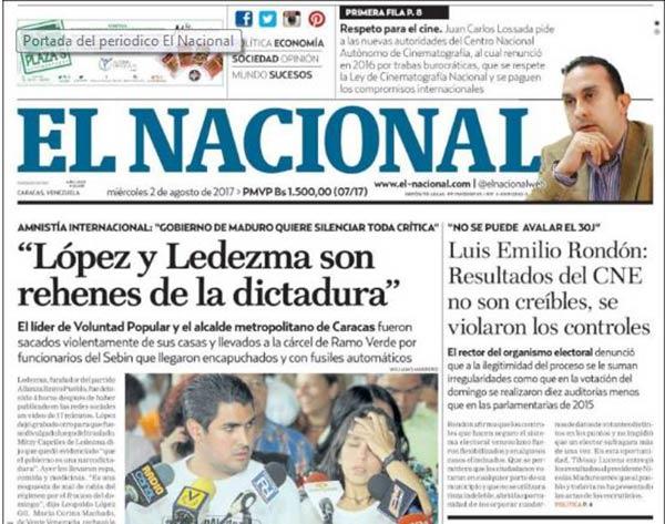 Portada de diario nacional |Foto: Kiosko.net