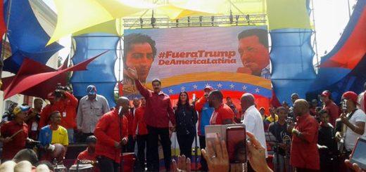 Presidente Nicolás Maduro durante marcha contra amenazas de EEUU | Foto: Twitter