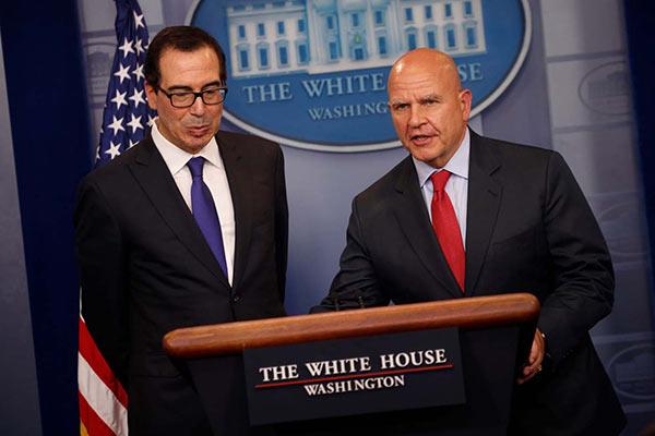 Secretario del Tesoro Steven Mnuchin y el asesor de de Seguridad Nacional H.R. McMaster informan de sanciones en la Casa Blanca Washington, U.S | Foto: REUTERS