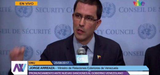 Jorge Arreaza responde a sanciones de EEUU | Foto: Captura de video