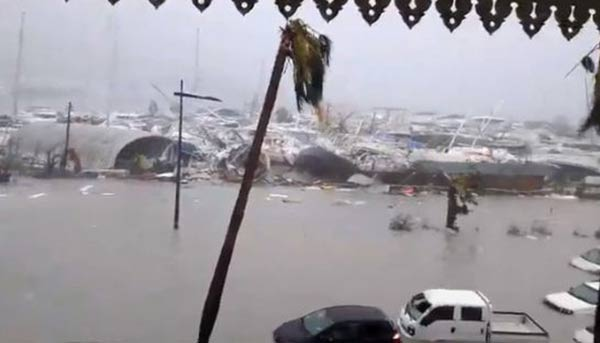Huracán Irma a su paso por San Martín  Captura de video