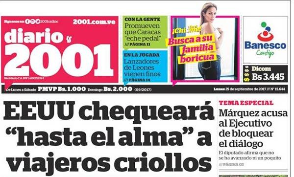 Portada de diario nacional| Foto: Kiosko.net