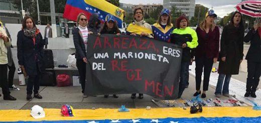 Venezolanos protestaron frente a la ONU tras el arribo de Arreaza | Foto: Twitter