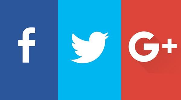 Logos de Facebook,Twitter y Google+   Imagen referencial