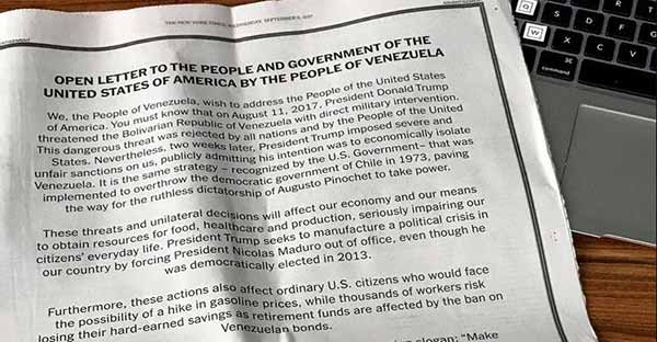 Carta abierta de Venezuela a los EEUU | Foto: @VillegasPoljak
