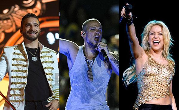 Residente, Maluma y Shakira lideran lista de nominados a Latin GRAMMY 2017 | Composición: NotiTotal