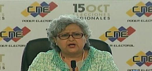 Presidenta del Consejo Nacional Electoral (CNE), Tibisay Lucena | Captura de pantalla