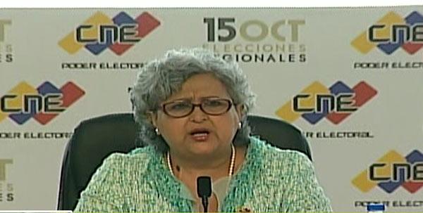 Presidenta del Consejo Nacional Electoral (CNE), Tibisay Lucena   Captura de pantalla