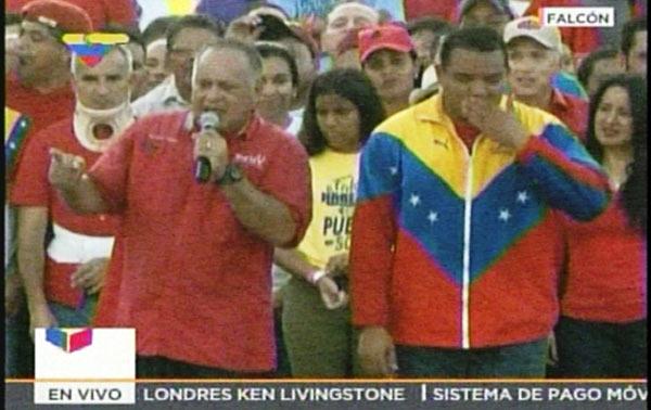 Diosdado Cabello durante acto político en Falcón | Captura de pantalla