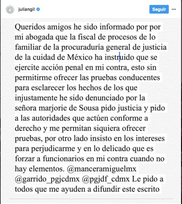 Julián Gil pide a las autoridades que le permitan mostrar sus pruebas | Créditos: Captura de Instagram / Caraota Digital