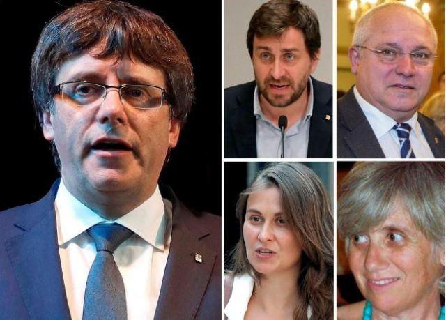 Puigdemont y cuatro de sus exconsejeros |Foto: El Mundo
