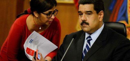 Delcy Rodríguez y Nicolás Maduro |Foto cortesía