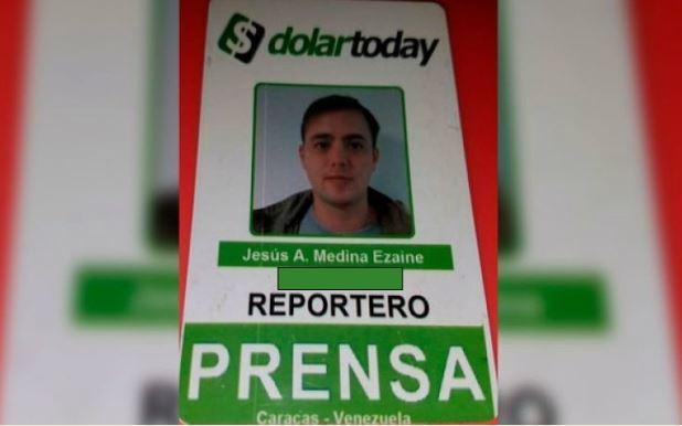 Jesús Medina, periodista corresponsal de DolarToday  Foto cortesía