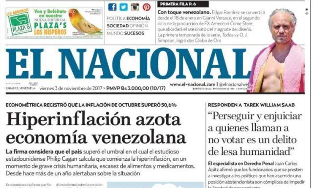 Diario nacional |Imagen cortesía: Kiosko.net