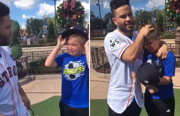Niño venezolano lloró al encontrarse con José Altuve en Disney   Composición