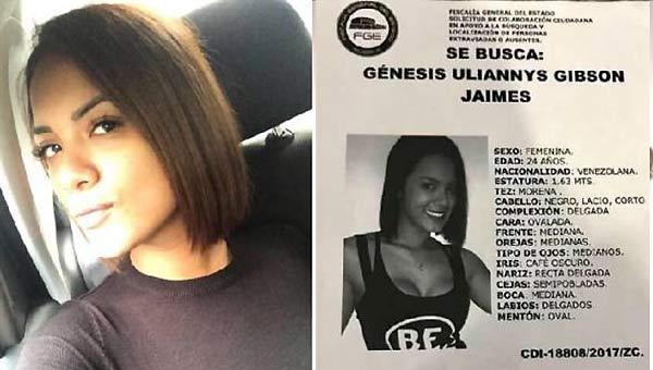 Joven venezolana desaparecida en México   Imagen referencial