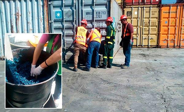 El contenedor con los barriles que contienen la millonaria carga de cocaína líquida