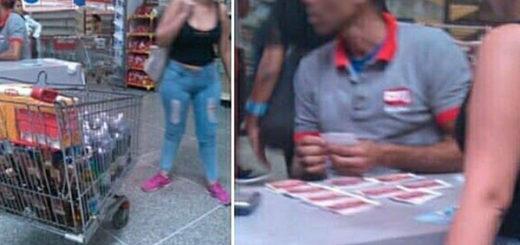 Pillan a mujer comprando bebidas alcohólicas con cupones del bono Niño Jesús y las redes estallan | Fotos cortesía