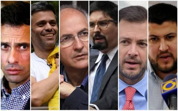 Líderes opositores que no podrán ser candidatos en próxima elección presidencial de Venezuela | Foto: La Patilla