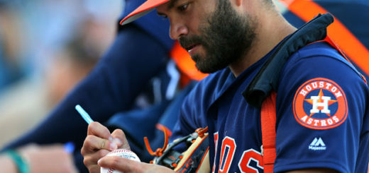 WEST PALM BEACH, FL - MARCH 09: Jose Altuve #27 of the Houston Astros signs autographs before a spring training game against the St. Louis Cardinals at FITTEAM Ball Park of the Palm Beaches on March 9, 2018 in West Palm Beach, Florida.   Rich Schultz/Getty Images/AFP