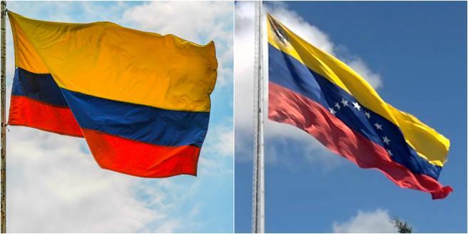 Bandera de Venezuela y Colombia