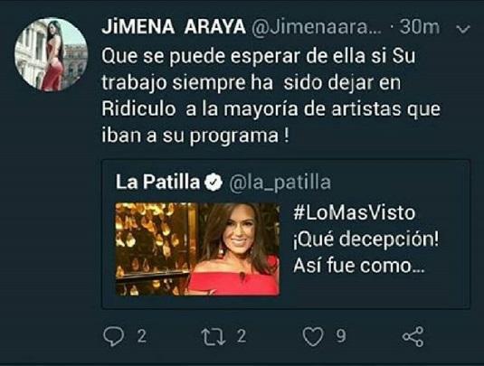 Tuit de Jimena Araya dónde expresa su descontento con Melisa Rauseo