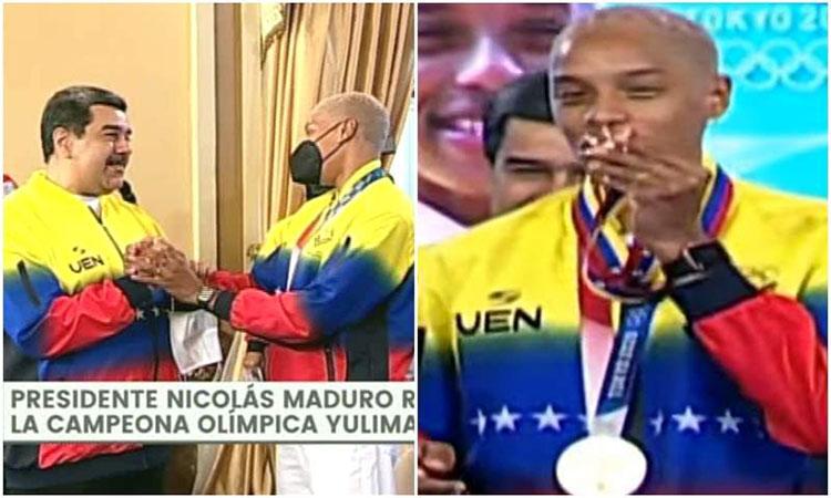 Maduro condecoró a la campeona olímpica Yulimar Rojas en Miraflores  (+Video) - NotiTotal